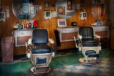 Barber Shop Photograph - Barber - Frenchtown Nj - Two Old Barber Chairs  by Mike Savad