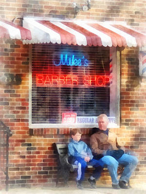Father Photograph - Barber - Neighborhood Barber Shop by Susan Savad