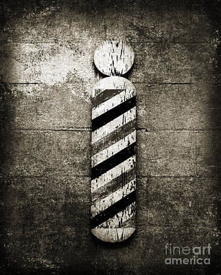 Barber Pole Black And White Print by Andee Design