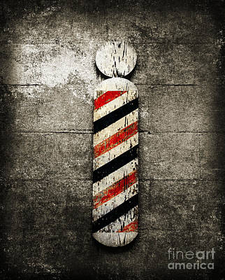 Red White And Blue Mixed Media - Barber Pole Selective Color by Andee Design
