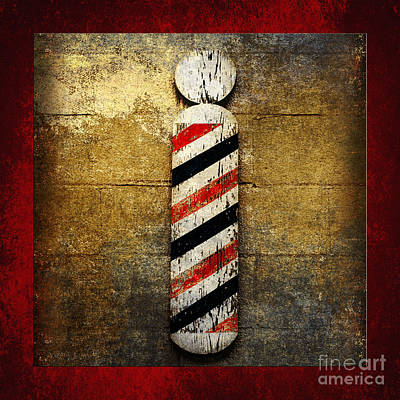Barber Pole Square Print by Andee Design