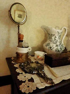 Chair Photograph - Barber - Shaving Brush Mugs And Mirror by Susan Savad