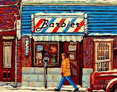Montreal Buildings Painting - Barber Shop Paintings And Prints Montreal Winter Street Scenes Vintage Storefront Carole Spandau by Carole Spandau