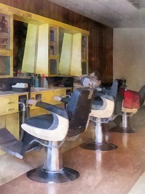 Barber - Small Town Barber Shop Print by Susan Savad