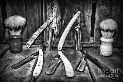 Salon Photograph - Barber - The Straight Edge In Black And White by Paul Ward