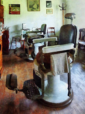 Barber - Two Barber Chairs Print by Susan Savad