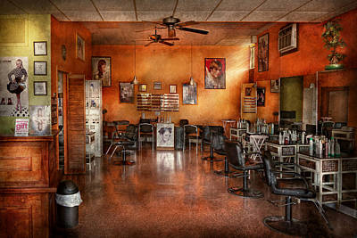 Empty Chairs Photograph - Barber - Union Nj - The Modern Salon  by Mike Savad