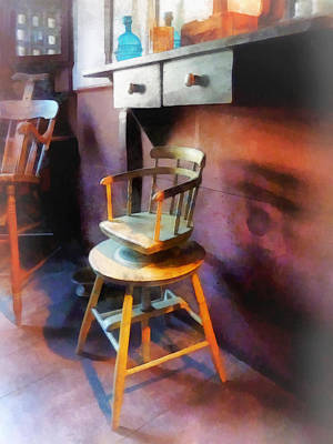 Child Photograph - Barber - Vintage Child's Barber Chair by Susan Savad