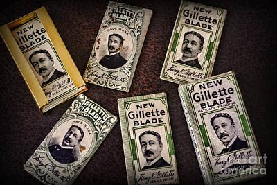 Barber - Vintage Gillette Razor Blades Print by Paul Ward