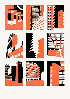 Skyscrapers Drawing - Barbican by Eliza Southwood