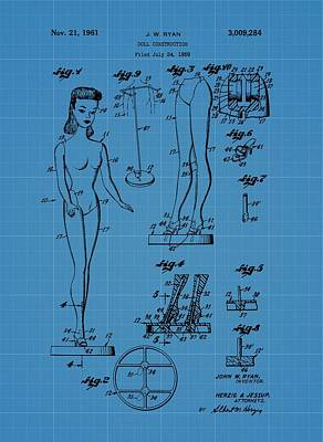 Barbie Doll Blueprint Print by Dan Sproul