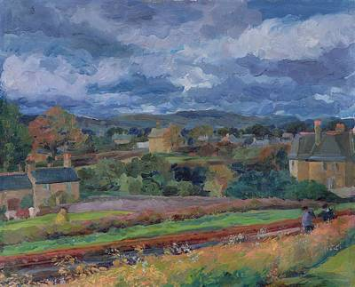 Circular Painting - Barbon From The Railway Line Autumn by Stephen Harris