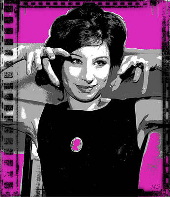 Songstress Digital Art - Barbra Streisand - Pink Pop Art by Absinthe Art By Michelle LeAnn Scott