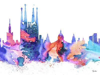 Map Painting - Barcelona by Luke and Slavi