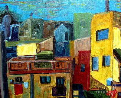 Flamenco Painting - Barcelona Rooftops by Greg Mason Burns