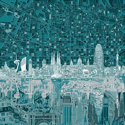 Barcelona Digital Art - Barcelona Skyline Abstract 5 by Bekim Art