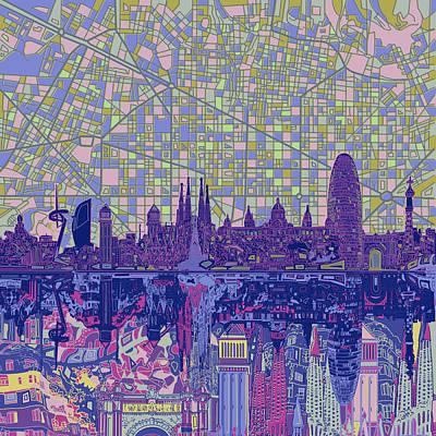 Barcelona Digital Art - Barcelona Skyline Abstract 6 by Bekim Art