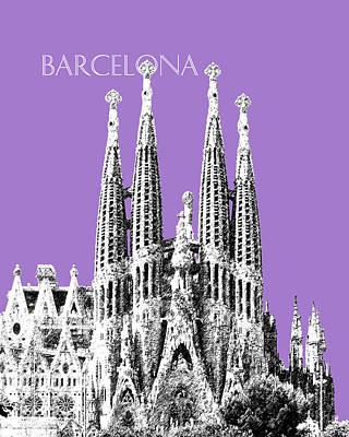 Barcelona Digital Art - Barcelona Skyline La Sagrada Familia - Violet by DB Artist