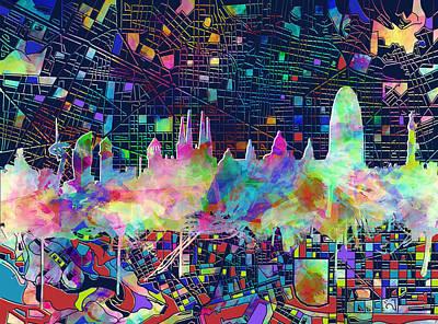Barcelona Digital Art - Barcelona Skyline Watecolor 3 by Bekim Art