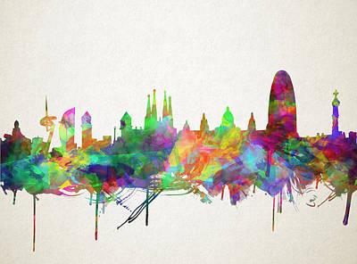 Barcelona Digital Art - Barcelona Skyline Watecolor 5 by Bekim Art