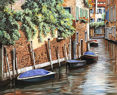 Canal Painting - Barche A Venezia by Guido Borelli