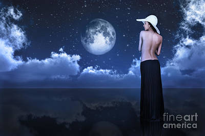 Cloudscape Digital Art - Bare Woman Looking At Moon by Aleksey Tugolukov