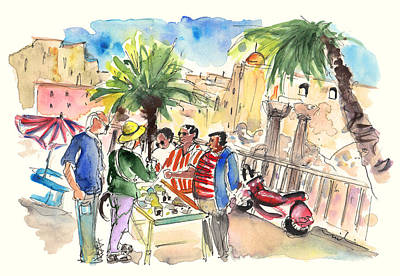 Piazza Drawing - Bargaining Tourists In Siracusa by Miki De Goodaboom