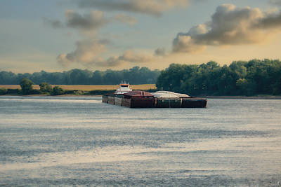 Barge On The River - Water Scene Print by Jai Johnson