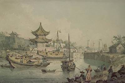 Barges Of Lord Macartneys Embassy To China Print by William Alexander