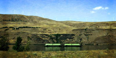 Wa Digital Art - Barges On The Columbia by Michelle Calkins
