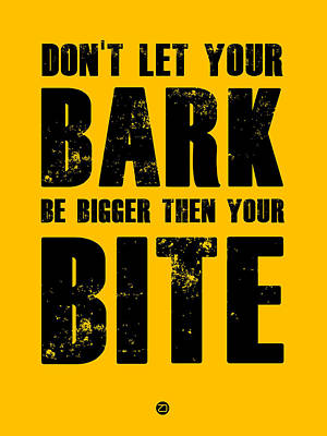 Famous Digital Art - Bark And Bite Poster Yellow by Naxart Studio