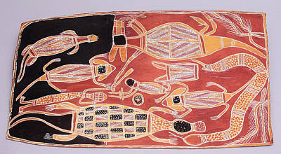 Crocodile Painting - Bark Painting From Australia by Unknown