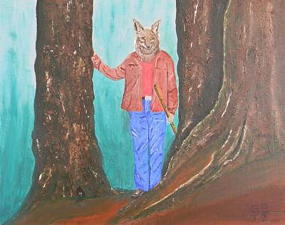 Barking Painting - Barking Dog The Coyote Man Surveys The New Trail by Gilbert Bernhardt