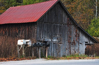 Fall Photograph - Barn And Mailboxes In West Virginia by Kathleen K Parker