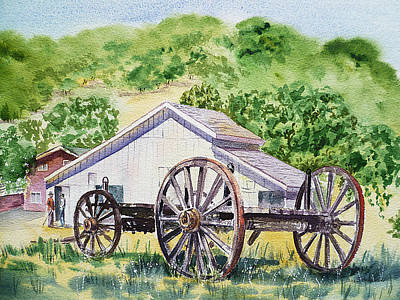 Barn Landscape Painting - Barn And Old Wagon At Eugene O Neill Tao House by Irina Sztukowski