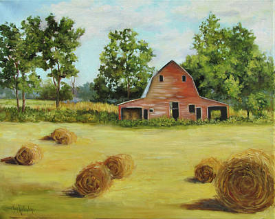 Barn Landscape Painting - Barn And Round Hay Bales by Cheri Wollenberg