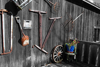 Barn Art No.3 - Color On Black And White Print by Janice Adomeit