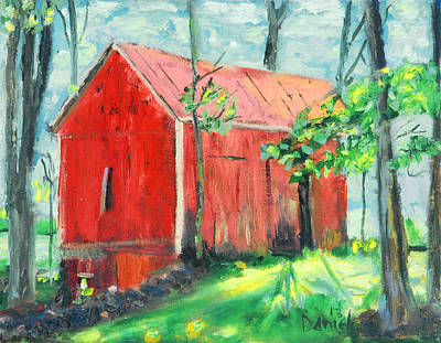 Impressionistic Landscape Painting - Barn At Walpack by Michael Daniels