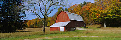 Bare Trees Photograph - Barn In A Field, Sleeping Bear Dunes by Panoramic Images