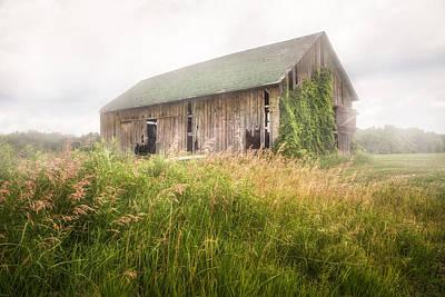 Barns Photograph - Barn In A Misty Field by Gary Heller
