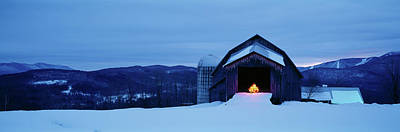 Barn In A Snow Covered Field, Vermont Print by Panoramic Images