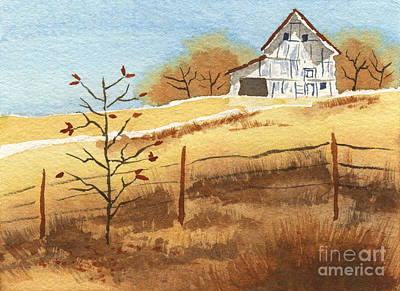 Reds Of Autumn Painting - Barn In Autumn by Beverly Claire Kaiya