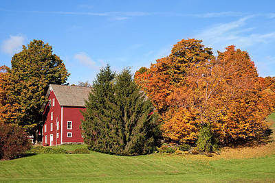 Barn In Autumn Near South Woodstock Print by Brian Jannsen