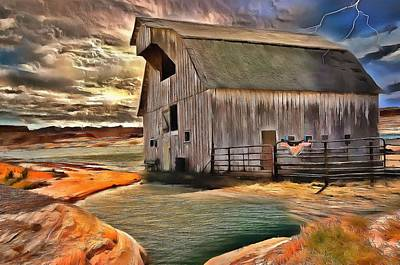 Barn In Golden Light  Print by L Wright