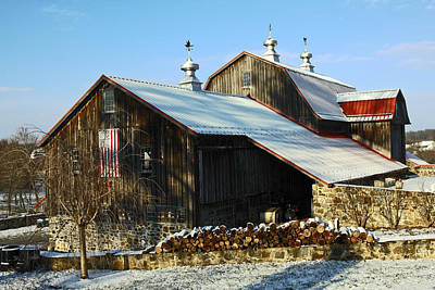 Barn In Snow Print by Sally Weigand