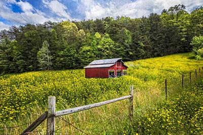 Barn In The Meadow Print by Debra and Dave Vanderlaan