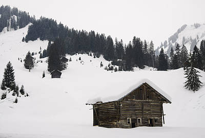 Barn In The Winterly Alps - Beautiful Mountain Landscape With Lots Of Snow Print by Matthias Hauser