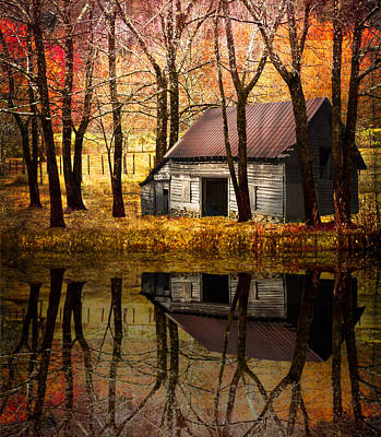 Barn In The Woods Print by Debra and Dave Vanderlaan