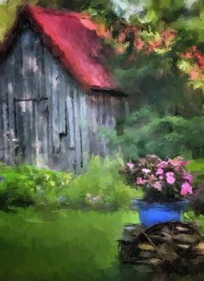 Barn In Trees Print by Dennis Wickerink