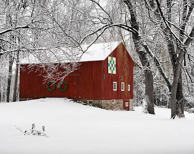Red Barn In Winter Photograph - Barn In Winter by Karen Salyer